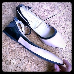BCBGeneration cream & black flats with ankle strap